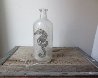 Beach House Decor - Seahorse Print - Natural Home - Coastal -  Home & Living - Bud Vase - Nautical Decor - Old Bottle - Sea Horse