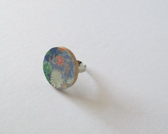 Blue Round Floral - Adjustable Ring