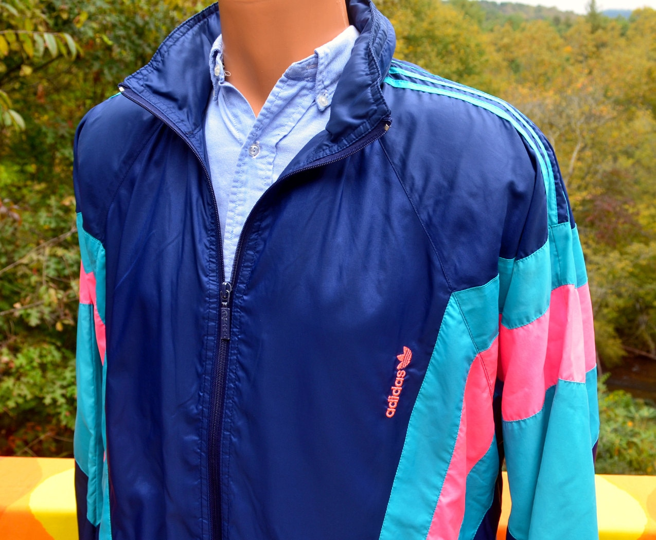 vintage 80s adidas windbreaker jacket neon stripe trefoil. Black Bedroom Furniture Sets. Home Design Ideas