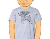 Flying Schnauzer Mens T-Shirt Small, Medium, Large, XL in 7 Colors