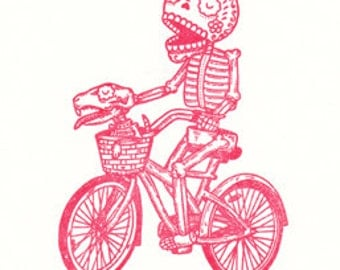 Bicycle Calavera Limited Edition Gocco Screenprint Day of the Dead Art