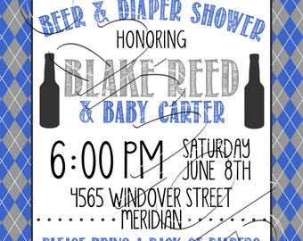 Custom Printable Diapers and Beer Baby Shower Invitation