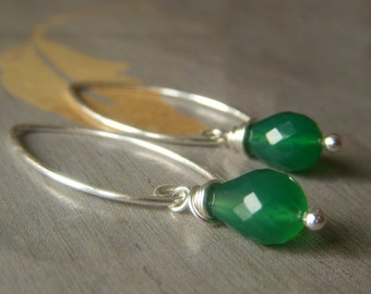 Green Onyx Earrings Sterling Silver, Teardrop Simple Emerald Gemstone Dangle, Opalescent Green Earrings