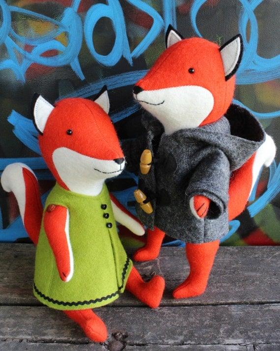 Ginger & Blue: fox sewing pattern, fox PDF, fox plush, fox softie, fox doll, boy fox doll, girl fox doll, fox soft toy, toy fox