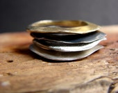 Stack Rings Contemporary Jewelry Gold and Black Rings Gifts for her Minimal Rings Set of Four
