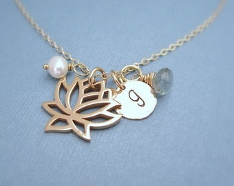 Gold lotus necklace, yoga jewelry, personalized gold initial necklace, custom birthstone, freshwater pearl, lotus flower, yoga necklace,