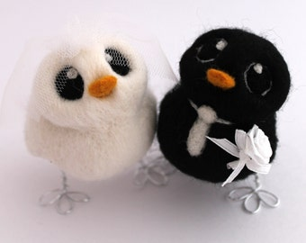 Bride and Groom Bird Wedding Cake Topper in Black and White