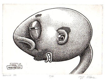 """BASIL WOLVERTON """"BARFLIZE"""" # 33 ~ Genuine Hand Crafted / Pulled Limited Edition Fine Art Print Etching Signed and Numbered."""