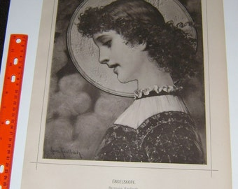 ENGELSKOPF Angel HERMANN KAULBACH Woman ~ Charming! ~ Woman Portrait Beautiful 1800s Vintage Old Antique Art Print [Inv Kaled #24