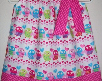 Girls Dresses with Owls Pillowcase Dress Owl Dress Owl Birthday Party Love Birds Dress with Hearts Valentines Day Dress Baby Dresses