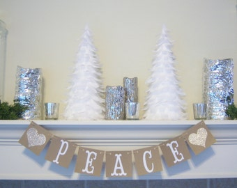 CHRISTMAS BANNER, Peace banner for the Holiday Season,Peace for the Christmas Season,Christmas Decoration, Christmas banners,PEACE garland