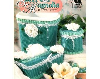 Sweet Magnolia Bath Set Crochet Pattern - Annies Attic 8B070 - Tank Cover Set / Tissue Box Cover / Rug