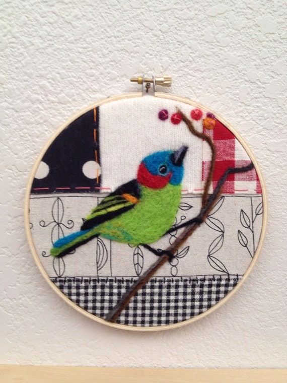 Red necked tanager needle felted embroidery hoop art by