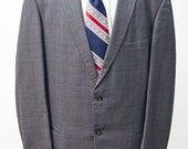Men's Two-Piece Suit / Grey Windowpane Plaid Jacket / Vintage Size 48