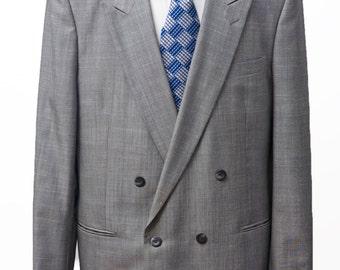 Men's Suit / Vintage Grey Blazer, Trousers / Italian, Peak Lapels / Size 46 Long