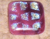 Deep Rose Holographic Squares  Dichroic Fused Glass Cab