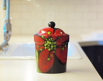 "Cookie Jar Canister with Lid Sugar Canister Food Storage Kitchen Canister Red Poppy Canister Large 9.5"" Pottery Gift for Wife Gift for Baker"