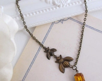 Summer Bee Necklace. Honey Bee Drop. Spring Summer Garden Nature Inspired Amber Glass Necklace. Antiqued Brass Bee, Vintage Glass Pendant