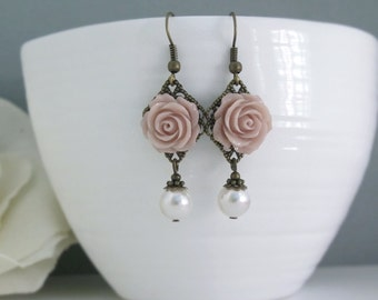 Light French Taupe Roses Earrings. Vintage Style Nature Woodlands Inspired. White Pearls Dangle Drop Earrings.Bridal Wedding Ear Jewelry