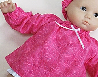 Bitty or Twin Doll Clothes - Hot pink with Hearts Mini Dress with matching Headband and White Panties - 3 piece outfit