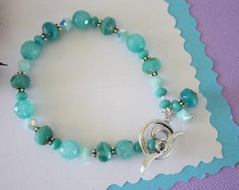 Mint Green Bracelet, Crystal,  Light Green, Gemstone Bracelet, Green