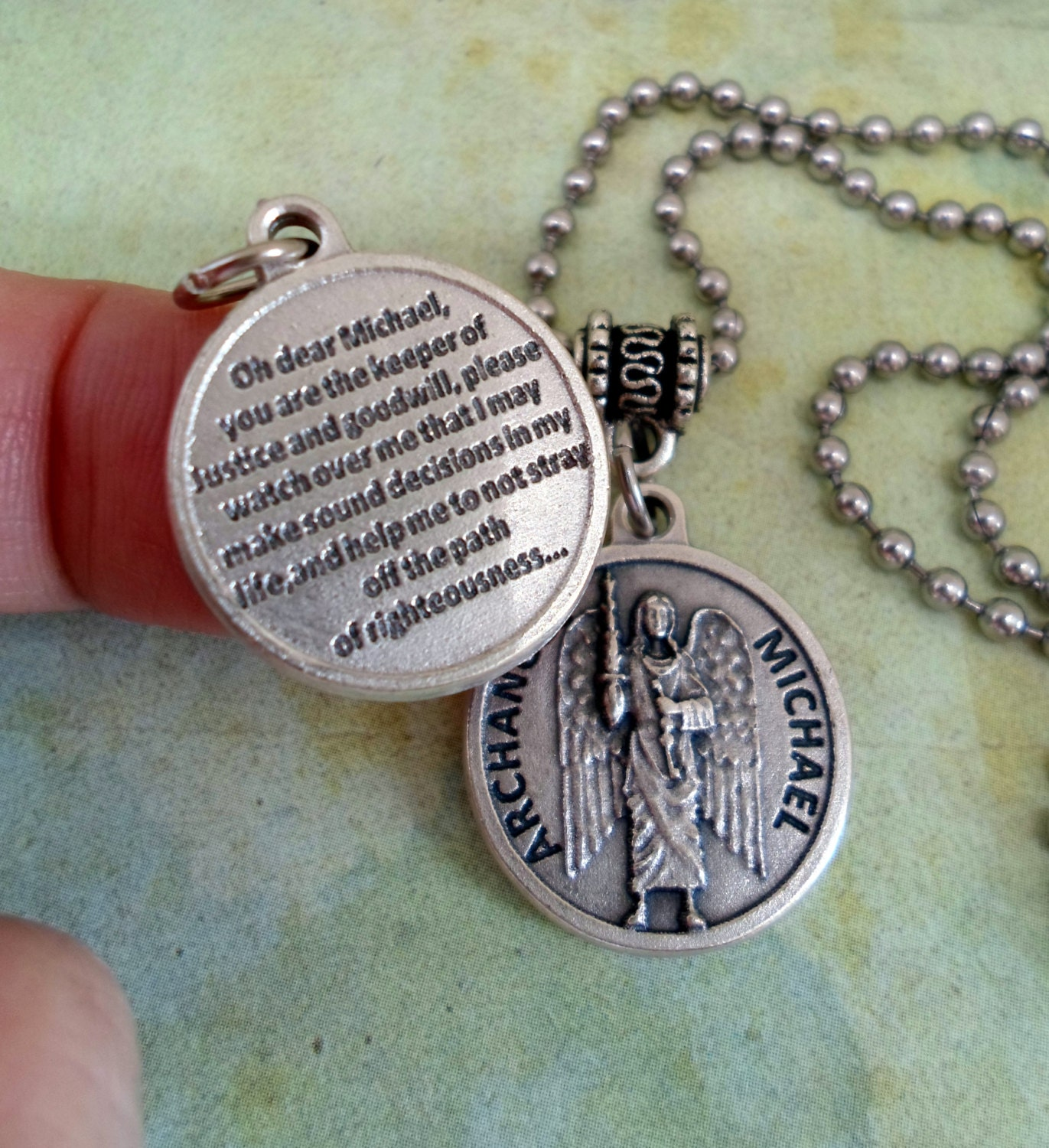 archangel michael necklace holy medal with a by marysprayers