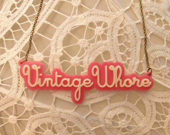 Vintage Whore Necklace - Double Stacked Laser Cut Necklace (C.A.B. Fayre Original Design)