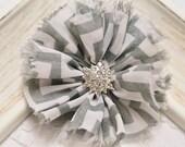 New! 2pcs Handmade soft shabby chiffon flowers--grey/white (FB1048)