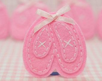 NEW! Set of 6pcs handmade felt ballet shoes--baby pink (FT1018)