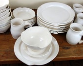 Dinnerware Set for Eight in White Quartz - Made to Order