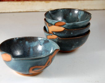 Snack Bowl or Rice Bowl in Slate Blue with Rust Chain- Made to Order