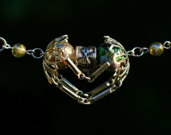 Articulated Heart Necklace with Mismatched Tensha beads