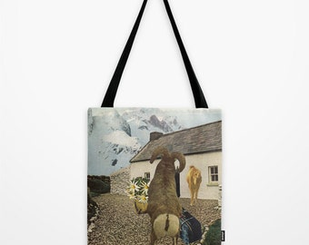 Tote Bag - a pilgrimage of sorts - quirky surreal collage art for the traveller