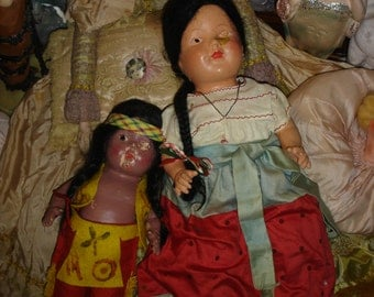 2 Vintage Composition Dolls TLC Parts or Repair Indian and Mexican Senorita