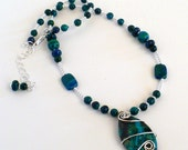 Malachite and Chrysocolla Free-Form Pendant and Earrings Set