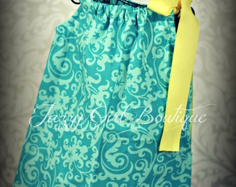 Girls Pillowcase Dress Turquoise Scroll with Yellow  Ribbon That Ties Over One Shoulder