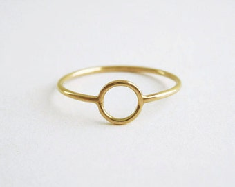 Gold Circle Ring | Thin Gold Ring | Delicate Gold Ring |18k recycled gold