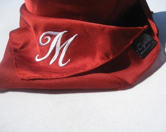 Vintage Silky Polyester Scarf by Cejan Accessories Inc. in Rich Burgundy - Red - Monogrammed with the Letter M - Made in India - C. 1970s