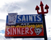 Old Neon Retro 'Saints and Sinners' signage New Mexico red blue angels devils 11x14 Photography Print