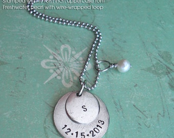 "Double Charm Pendant - Hand Stamped 18"" necklace & pearl or crystal included . Customize both metal discs . Copper, Silver or Gold tags"