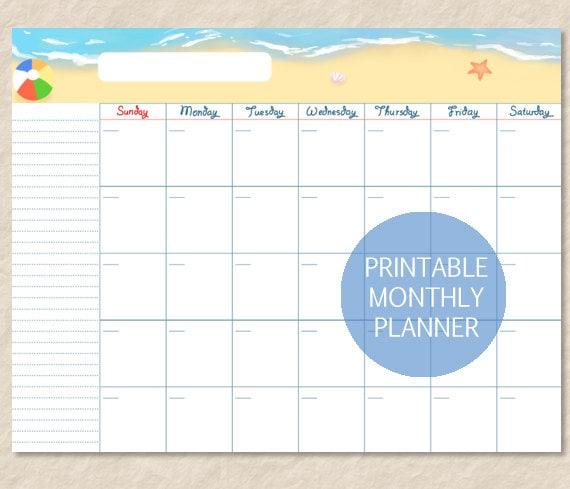 Printable Beach Undated Calendar Seashore Monthly Planner