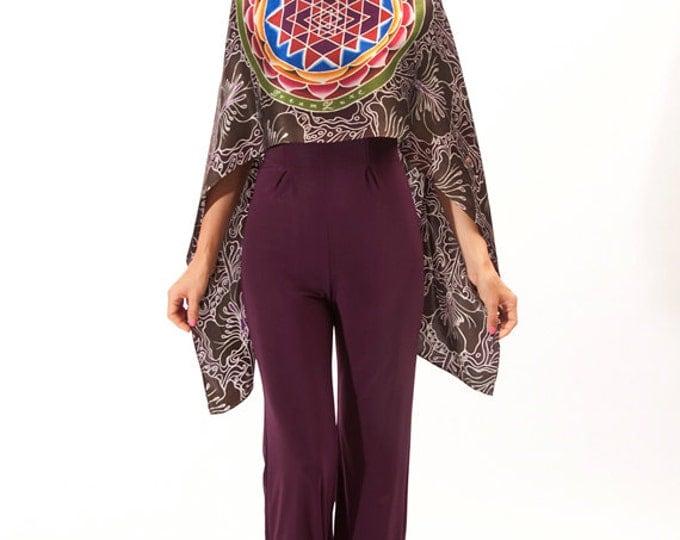 Mandala scarf Silk, Hand Painted scarf, Sacred mandala, Sri Yantra scarf, Flower silk scarf, art to wear, sacred geometry mandala, Unique