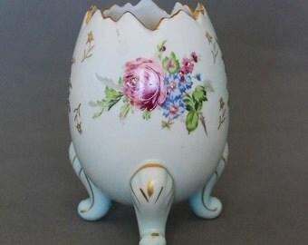 Napcoware Porcelain Egg Vase Figurine -  Handpainted Floral Motif