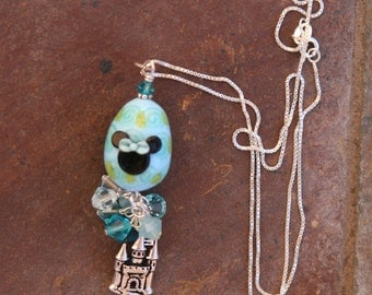 Blue Chintz Style Lampwork Egg Castle Easter Mickey Minnie Style DeSIGNeR Necklace Pendant Sterling Silver
