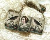 Lady Bird Necklace - Victorian Lady Necklace - Bird Necklace - Victorian - Lady Necklace - Victorian Image - Shrink Plastic - Blue - Bird