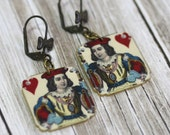 King of Hearts Earrings King of Hearts Jewelry Playing Card Jewelry Playing Card Earrings Heart Jewelry Cards Shrink Plastic Vintage Print