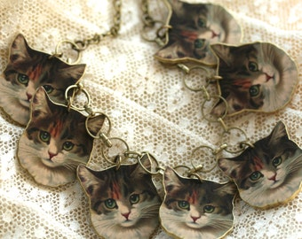 Color Cat Charm Necklace - Cat Necklace - Charm Necklace - Cat - Kitty - Meow - Shrink Plastic - Cat Lady - Brown Cat - Tabby Cat - Brown