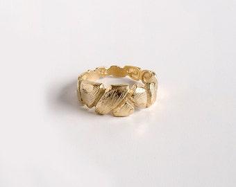 Textured wedding band, rustic wedding ring, rustic wedding ring, solid 14K gold wedding ring, matte gold wedding band, unique wedding ring