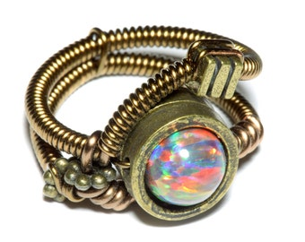 Steampunk Jewelry - Ring - Mexican LAB created OPAL