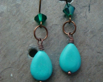 SALE Nice Turquoise and Emerald Crystal on Antique Bronze over Copper Handmade Wires   1.99 Shipping USA